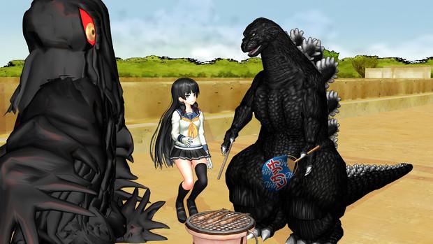 秋刀魚の焼き方を教える怪獣