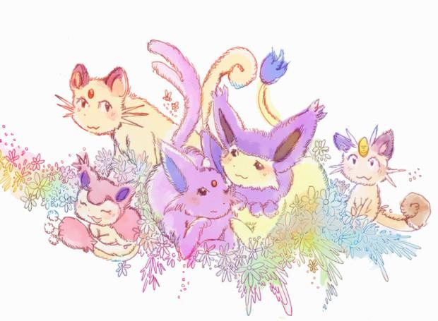 花畑の猫達