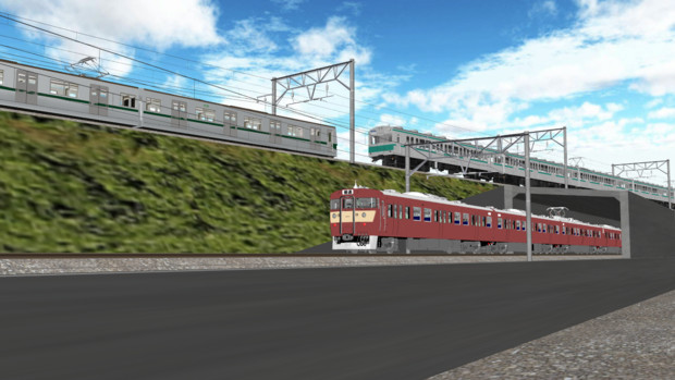 【MMD-OMF9】松戸のあそこっぽい立体交差線路【MMD鉄道】