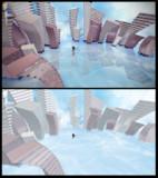 水面と空と歪んだビルのステージ【MMDステージ配布】