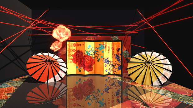 金屏風と傘のステージ【MMDステージ配布あり】