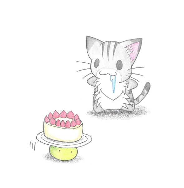 ケーキを運ぶカエルちゃん