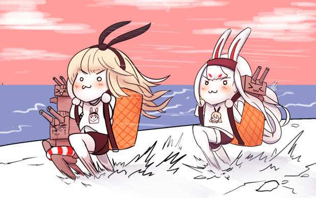 ウサギが走っている
