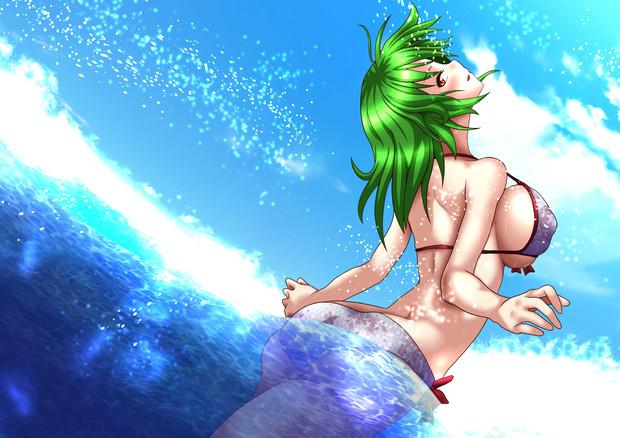 海で戯れるゆうかりん