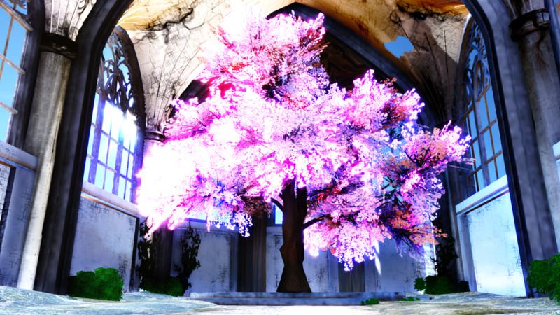 【MMD】廃教会+桜