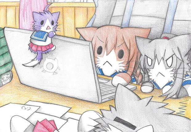 パソコンの中身をチェックする阿賀野型猫