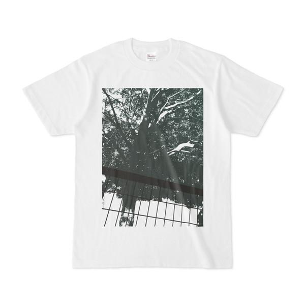 シンプルデザインTシャツ 木とフェンス