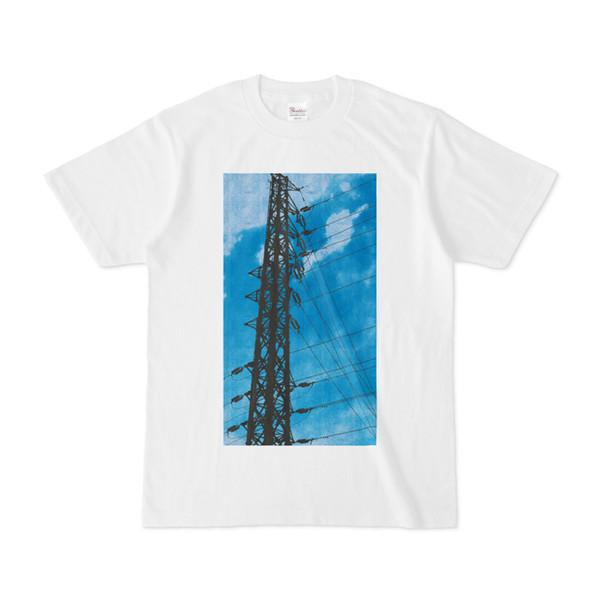 シンプルデザインTシャツ 青空鉄塔