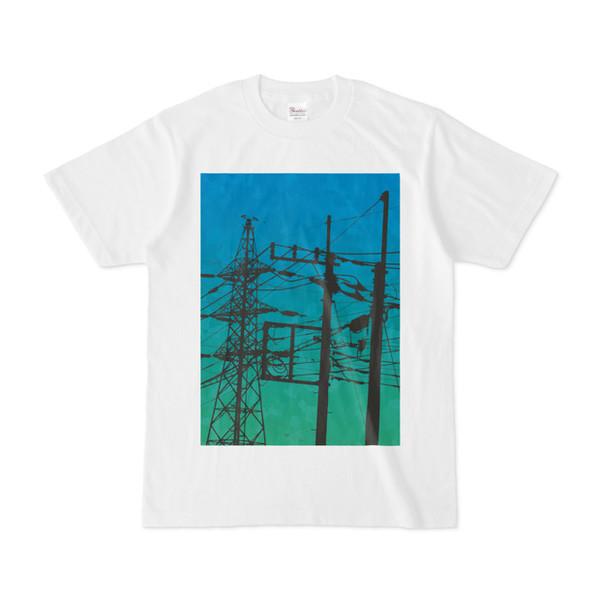 シンプルデザインTシャツ 電柱×鉄塔
