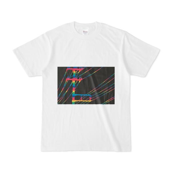 シンプルデザインTシャツ 虹電線