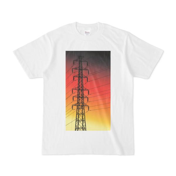 シンプルデザインTシャツ 夕焼けの鉄塔