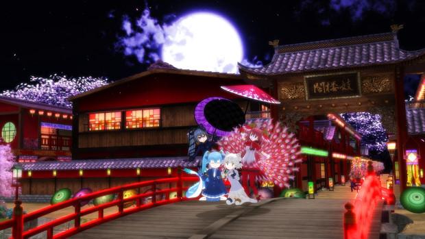 四神と夜桜