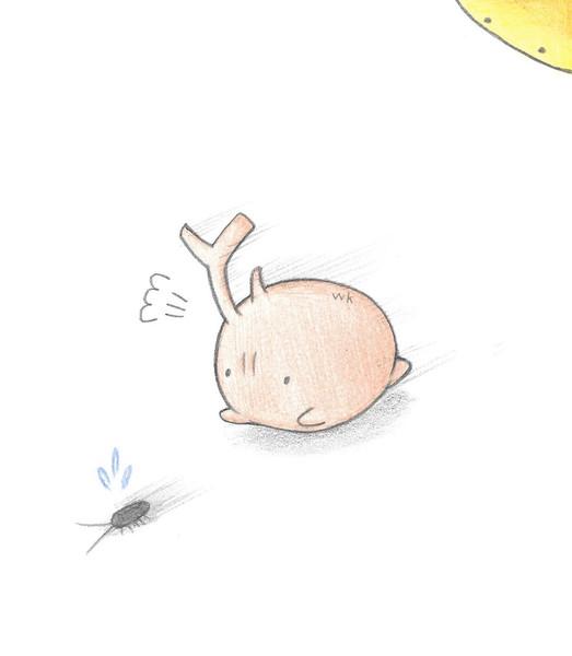 ゴキブリを追いかけるカブトムシ