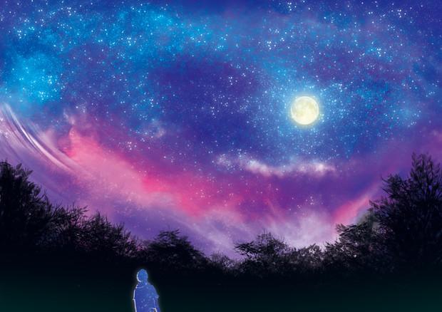 夕焼けが落ちる夜空
