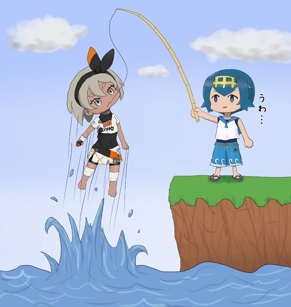 サイトウがスイレンに釣り上げられても全く動じてないときの絵