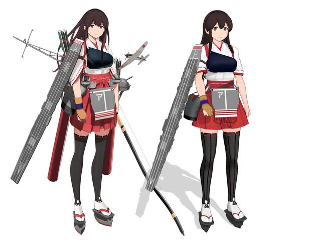 赤城改二【MMD艦これ改造モデル】比較(ゴリマ式改変)