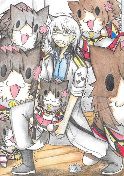 大和ネコに囲まれるグー提督