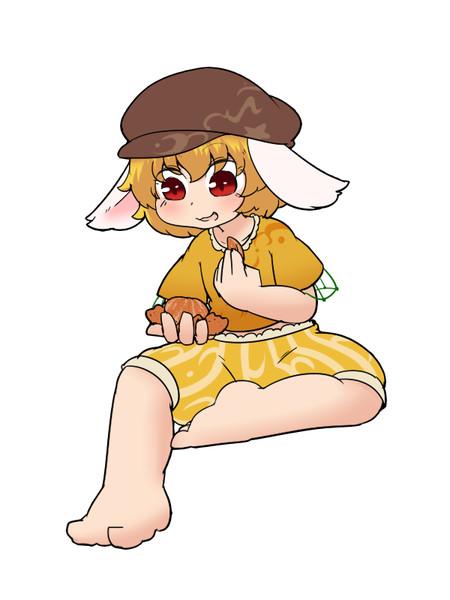 ぶどうを食べるいちごちゃん
