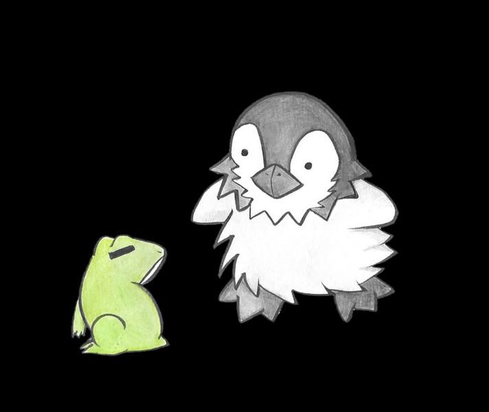 見つめ合うカエルとペンギン