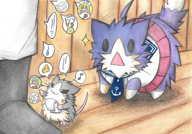 ネズミ(提督)を見つけた酒匂猫
