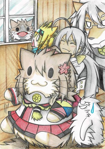 大和猫を持ち上げる清霜