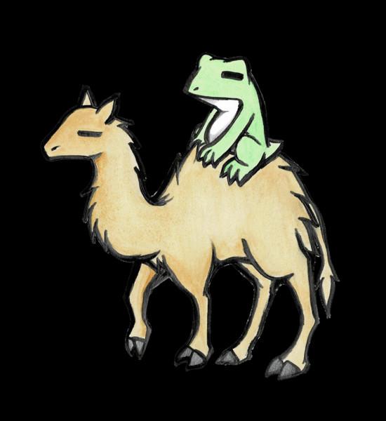 ラクダに乗るカエル