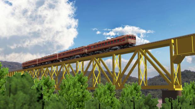 【MMD鉄道】磐越西線一ノ戸川橋梁を行く急行「いいで」