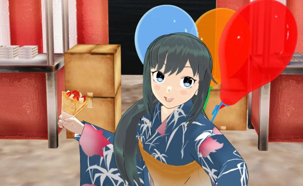【MMD艦これ】【RAY-GO静画祭Vol.5】屋台群へ威力偵察中の朝潮さん