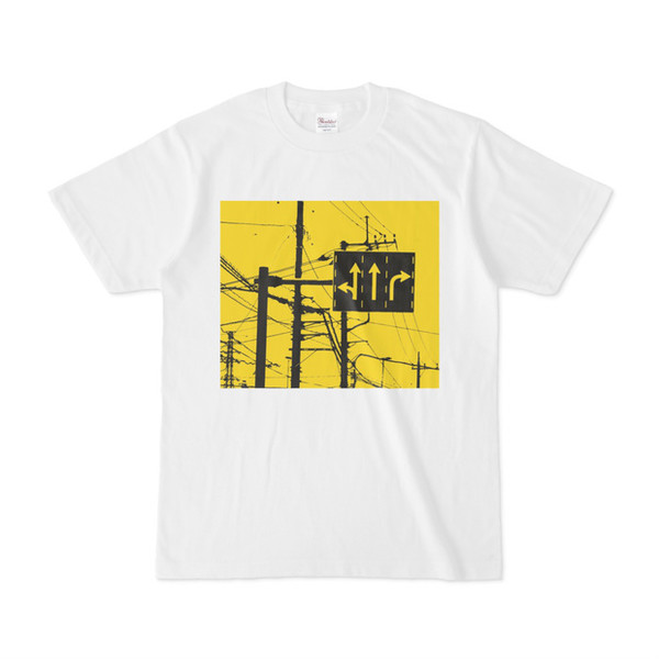 シンプルデザインTシャツ 黄色ルート標識