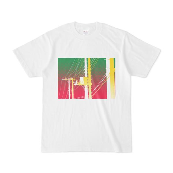 シンプルデザインTシャツ 電柱リンゴ