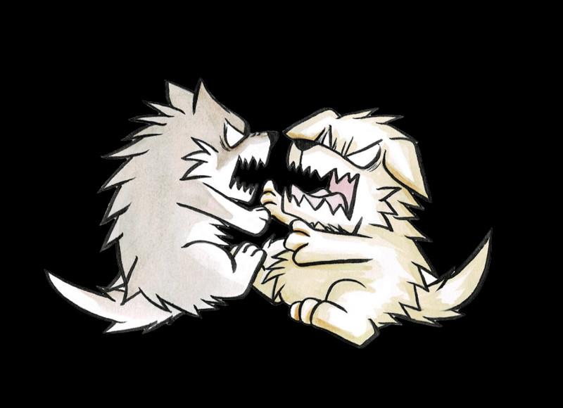 喧嘩する犬と狼