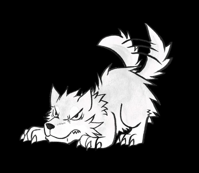 威嚇する狼