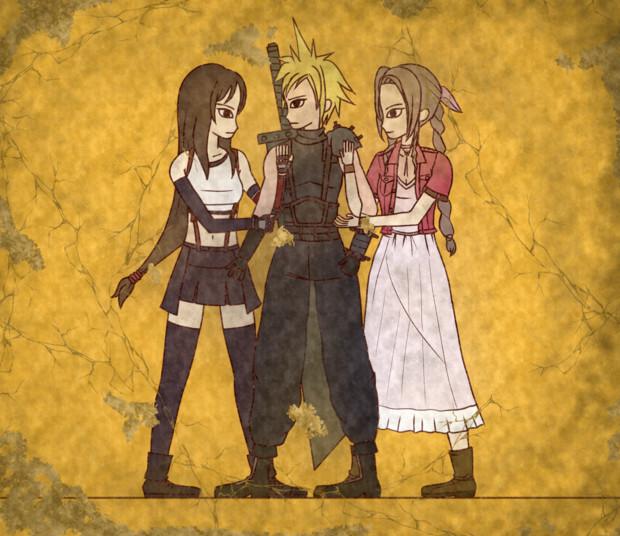 【壁画】クラウドとエアリスとティファ