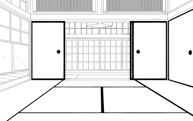 線画背景素材①「和室」