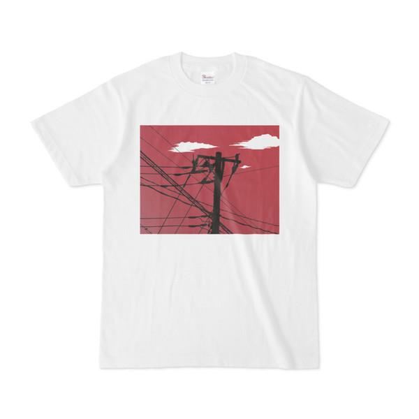 シンプルデザインTシャツ 赤空電柱
