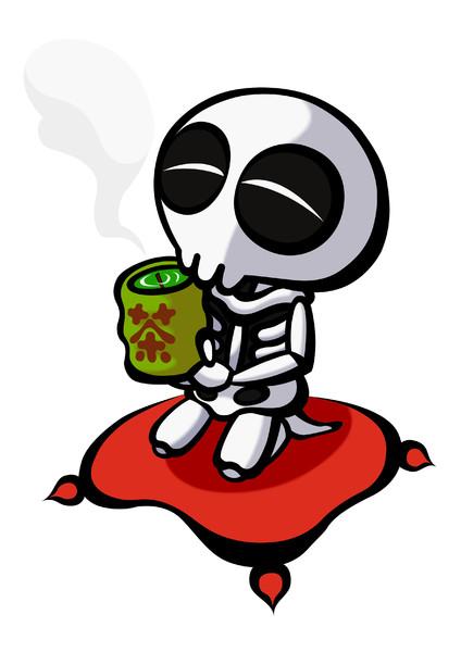 お茶を飲むスケルトンTのぷよぷよの壁紙