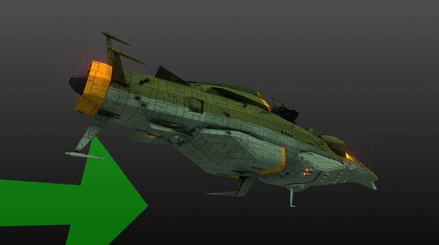 ガイデロール級航宙戦艦シュヴァリエル 後ろ姿