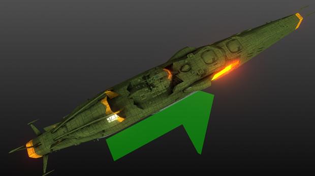 ガイデロール級航宙戦艦シュヴァリエル 上から