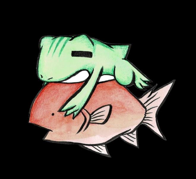 金魚に乗るカエル