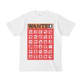 シンプルデザインTシャツ WANTED MONSTE(RED)
