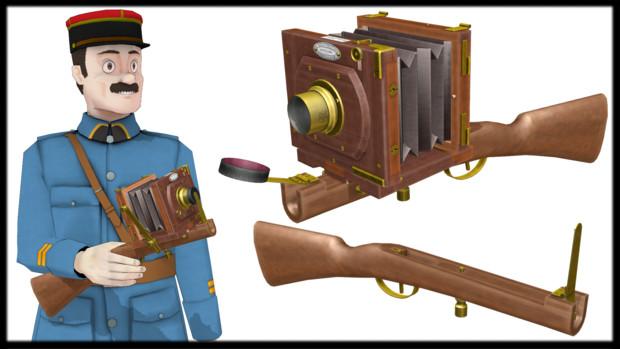 【MMDモデル配布】19世紀のカメラ用ガンストック_v1.0
