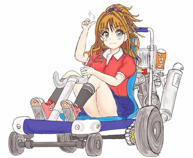 バイクのエンジンを積んだ台車に乗る茜ちん