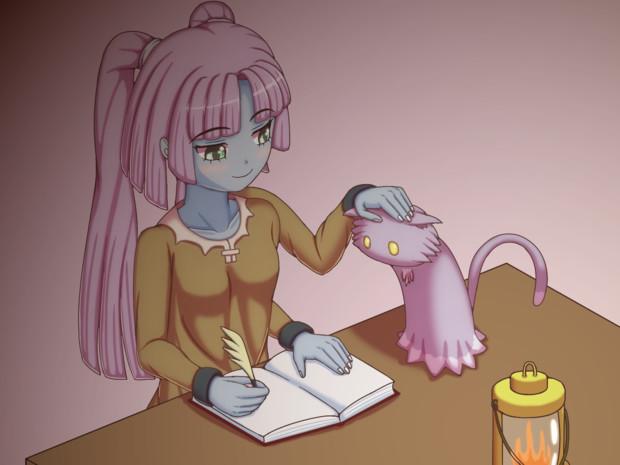 エニラちゃんと猫 宿屋にて