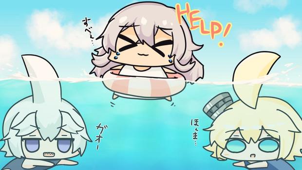 2匹のサメに襲われるにくすべさん