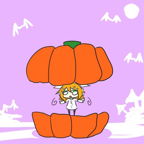 かぼちゃをわってでてくるリン