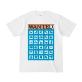 シンプルデザインTシャツ WANTED MONSTER(CYAN)
