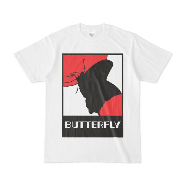 シンプルデザインTシャツ 紅白に蝶