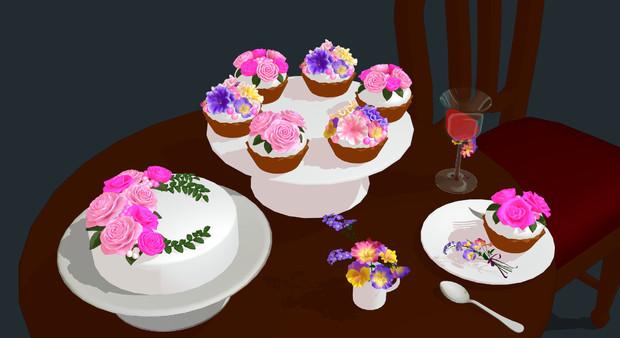テーブルセットと花