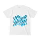 シンプルデザインTシャツ WAVE・MONSTER(CYAN)
