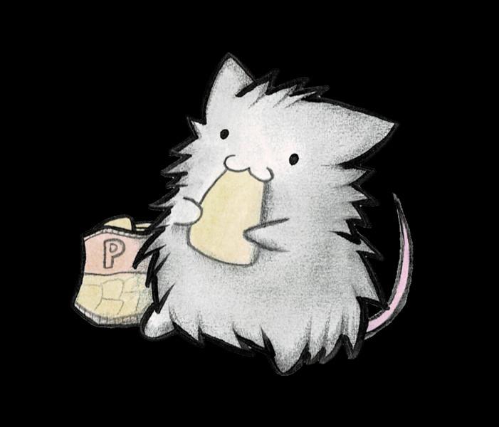 ポテチを食べるネズミ